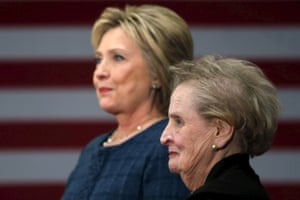 Madeleine Albright stands next to Hillary Clinton during a campaign stop at Rundlett Middle School in Concord, New Hampshire.