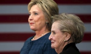 Madeleine Albright says her remarks at a Hillary Clinton event were made 'in the wrong context'.