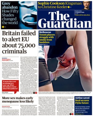 Guardian front page, 15 January 2020
