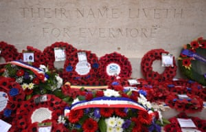 Wreaths at the Stone of Remembrance at Thiepval