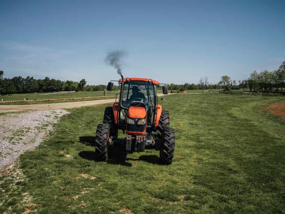 John Boyd Jr takes his new Kubota cab tractor for a spin to see how well it prepares his land for planting soybeans.