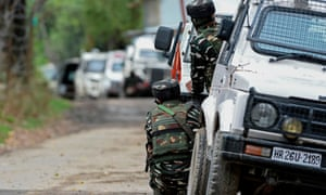 Indian army troops in Pattan in the Indian-administered area of Kashmir.