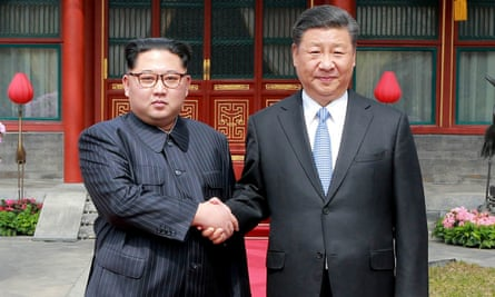 Kim Jong-un and Xi Jinping at their meeting in Beijing, China, in 2018.