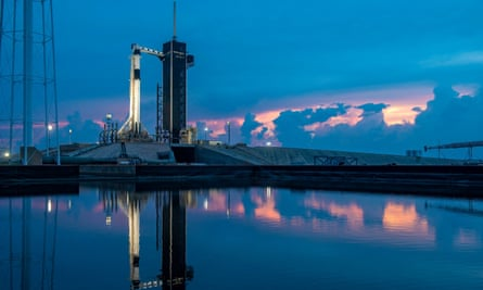 A SpaceX Falcon 9 rocket on the launch pad at Launch Complex 39A at NASA's Kennedy Space Center in Florida.