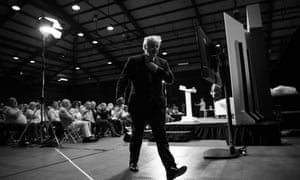 Boris Johnson leaves the stage after addressing Conservative Party members during a hustings on July 13, 2019 in Colchester, England