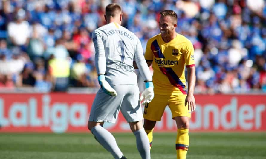 Marc-André ter Stegen celebrates his assist for Luis Suarez.