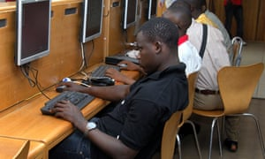 An internet cafe in Accra, Ghana.