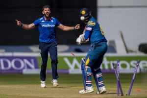 The bails fly as Angelo Mathews is bowled by Liam Plunkett.
