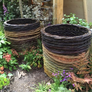 Woven compost bins in Ann-Marie Powell's garden.