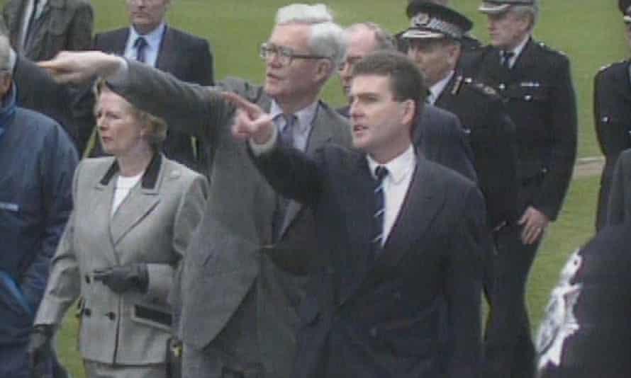 Margaret Thatcher visits the Hillsborough ground.