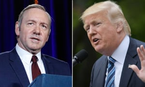 Kevin Spacey in House of Cards, left, and Donald Trump