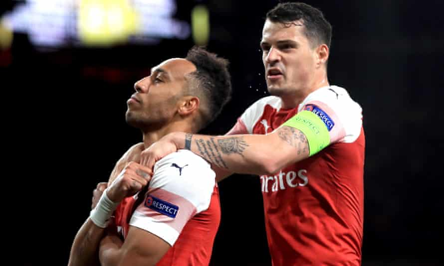 Arsenal's Pierre-Emerick Aubameyang (left) scored his side's third goal late on in the Europa League first leg against Valencia on Thursday.