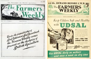 Farmers Weekly's first cover from 1934, and another from the 1940s.