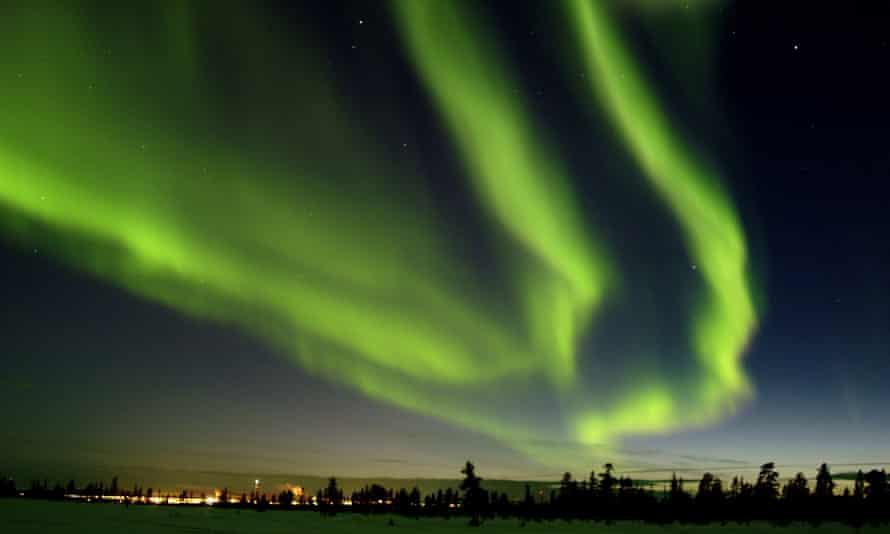 The northern lights seen from Jukkasjarvi, Sweden.