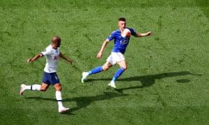 Lucas Moura of Tottenham battles for possession with Leicester's Luke Thomas.