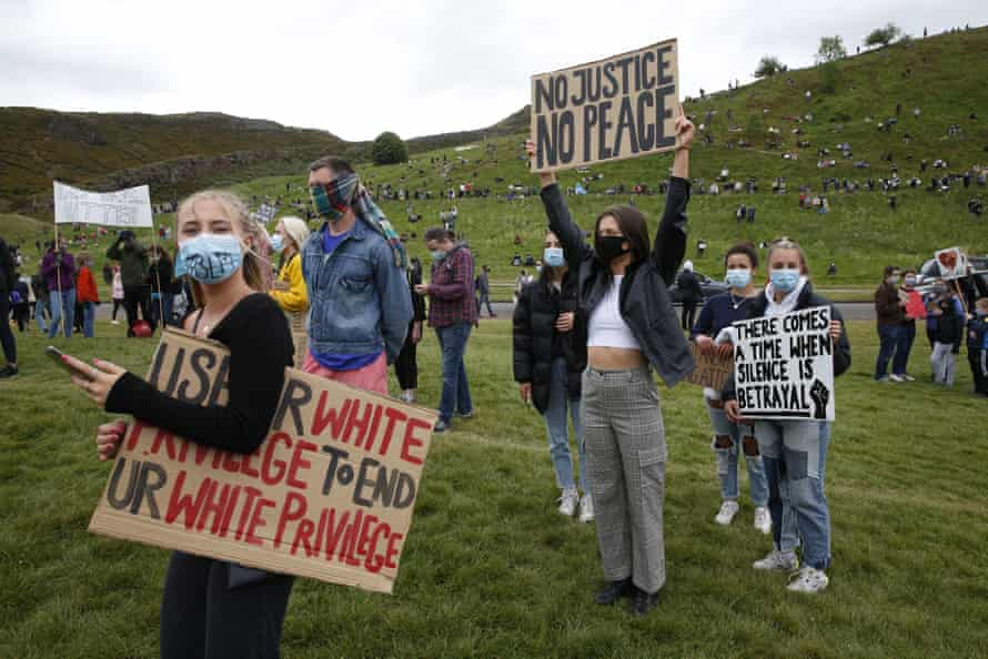 Thousands came together for a socially-distanced, peaceful, static rally in Holyrood Park in support of Black Lives Matter.