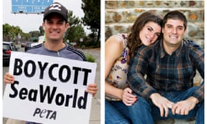 """Seaworld employee acting as animal rights campaigner On right """"Thomas Jones"""" and on left Paul McComb"""