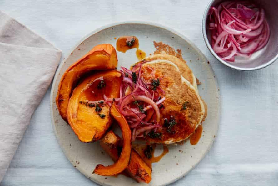 Anna Jones' aquafaba pancakes with roast squash