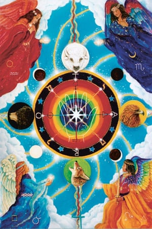 """The Wheel of Fortune, The Star Tarot, 2017, by Cathy McClelland First conceived in 1991, the star tarot is by artist Cathy McClelland. Inspired by her fascination with astrology and astronomy, McClelland painted the first cards of what's known as the """"major arcana"""" in the early 90s and spent the next decade completing the intricately detailed paintings representing each of the tarot trump cards."""
