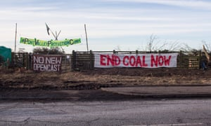 Anti-coal banners at the Pont Valley Protection Camp in County Durham.