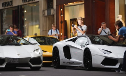Lamborghinis like these are among luxury sports cars targeted by international thieves.