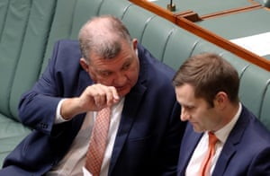 Liberal MP Hughes Craig Kelly and chair of the backbench environment committee waits for his turn to talk about energy policy.