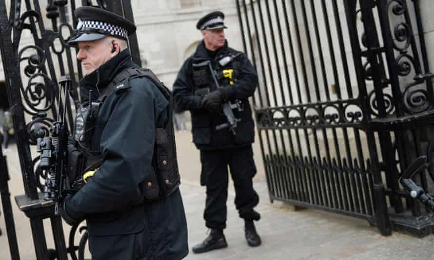 Armed police officers in Westminster