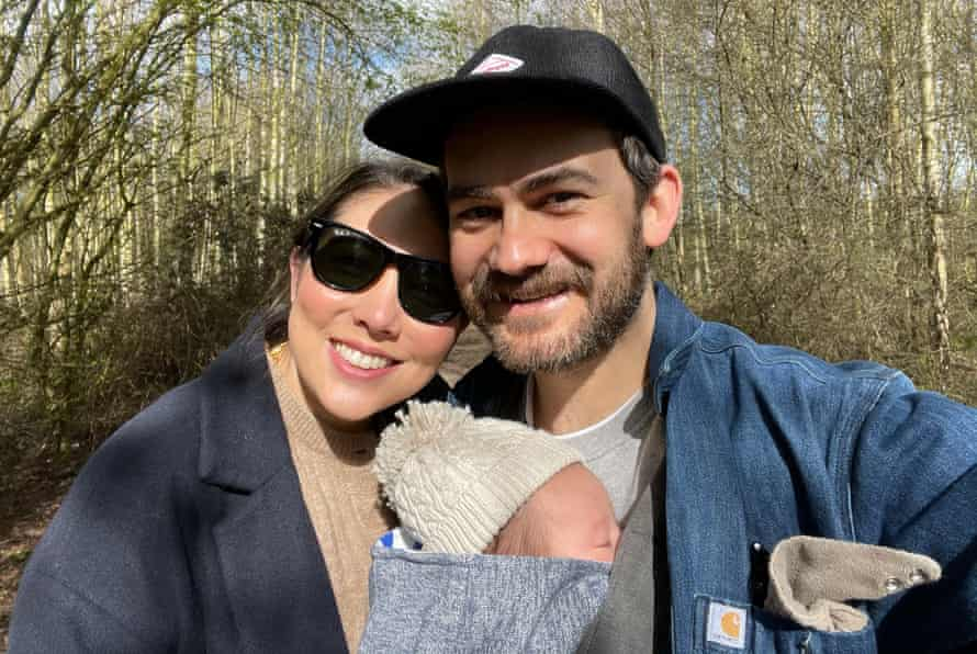 Ed Chilton with his partner and their baby, Margot.