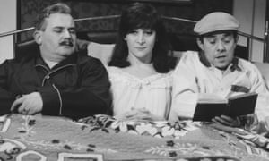 Sheila Steafel, centre, with Ronnie Barker and Ronnie Corbett in a sketch from the BBC's The Frost Report, 1967.