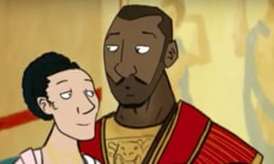 The depiction of a black Roman father, in the BBC educational animation Life in Roman Britain.