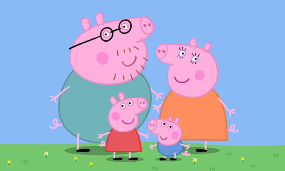'It deals with family, which is the first thing that makes sense to children' … Peppa with Mummy, Daddy and brother George.