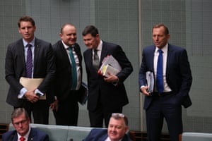 A meeting of the Deplorables: Tony Abbott, Kevin Andrews and Andrew Hastie after question time.