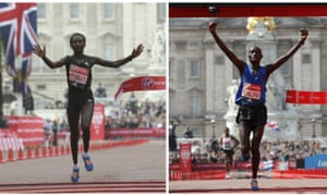 Mary Keitany and Daniel Wanjiru cross the finishing line of the 2017 London Marathon