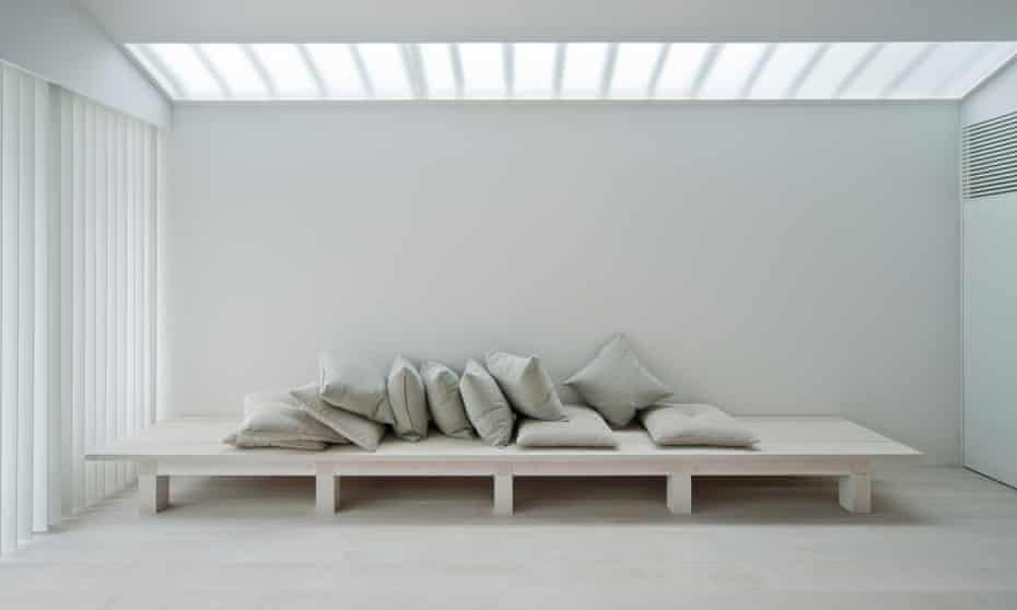 all whiteCushions on white bench at the White Dormitory, Japan