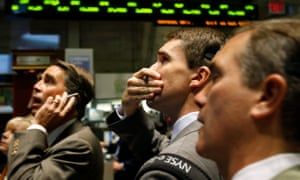 Traders on floor of the New York Stock Exchange in 2008.