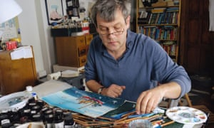 Drawing on EU's potential ... Axel Scheffler, illustrator of The Gruffalo, at work at his home in London.