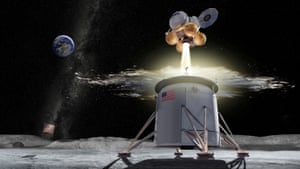 A proposed design for a Nasa Artemis programme ascent vehicle leaving the surface of the moon, separating from a descent vehicle.