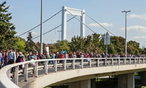 Syrian refugees marching through Budapest, heading towards Austria and then Germany, in September 2015.