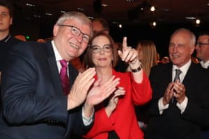 Former prime ministers Kevin Rudd, Julia Gillard and Paul Keating at the Labor party election launch in Brisbane