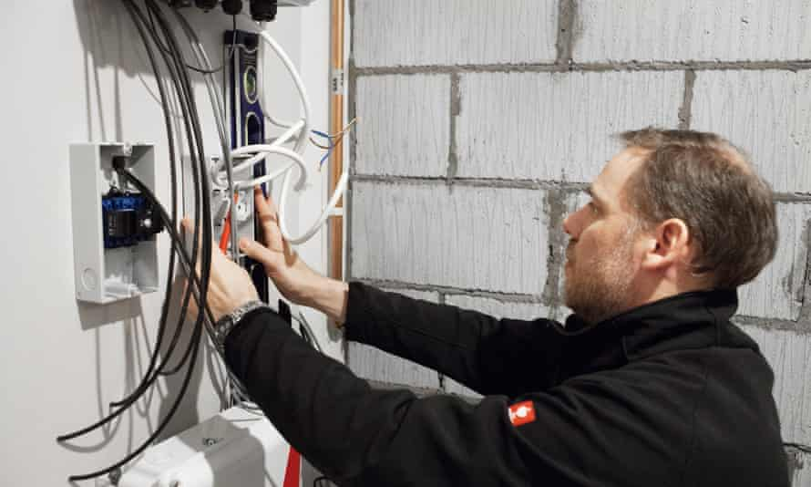 A home battery is installed at a property in Cardiff.