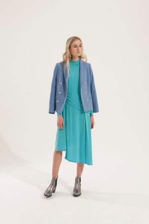 blue blazer Reiss, turquoise draped dress Finery, silver metallic boots Russell and Bromley, gold and black earrings H&M
