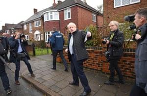 Prime minister Boris Johnson door knocking in Mansfield, Nottinghamshire.