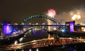 Fireworks over the Tyne, Newcastle, UK on New Year's Eve.