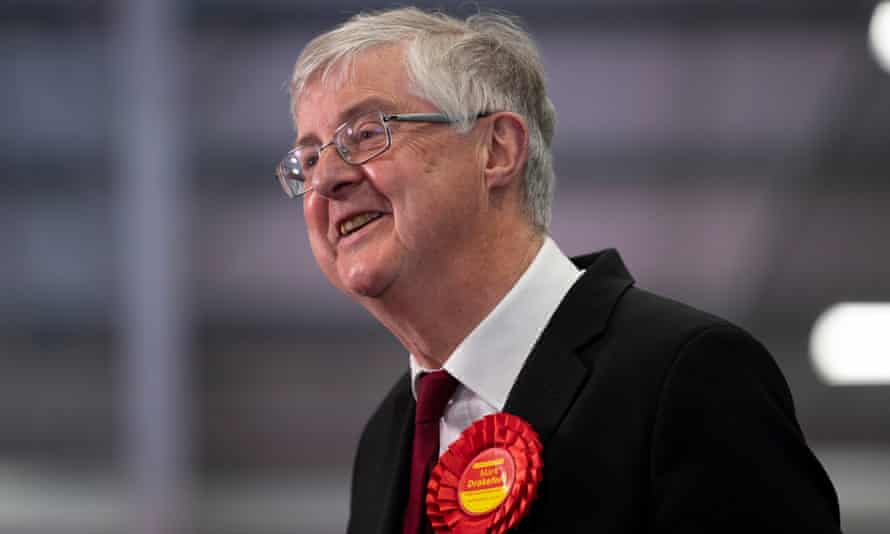 The first minister of Wales, Mark Drakeford, smiles after winning the Cardiff West constituency.