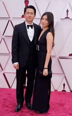 Steven Yeun, nominated for an Academy Award for Actor in a Leading Role for his performance in Minari and his wife Joana Pak