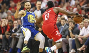 ce6e6eee0614 Stephen Curry s Warriors were toppled by James Harden and the Rockets in  Houston