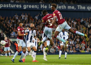 Keinan Davis and Tammy Abraham of Aston Villa get in each other's way and the chance is gone.