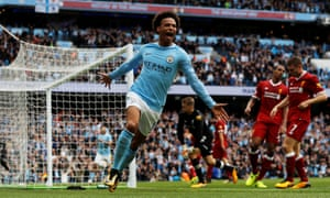 Leroy Sané enjoys scoring the first of his two goals in Manchester City's 5-0 win over Liverpool in September.