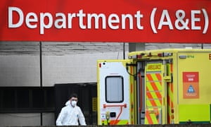 Medical personnel outside St Thomas' Hospital in Westminster