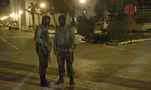 Tunisian soldiers guarding the National Bardo Museum last night.